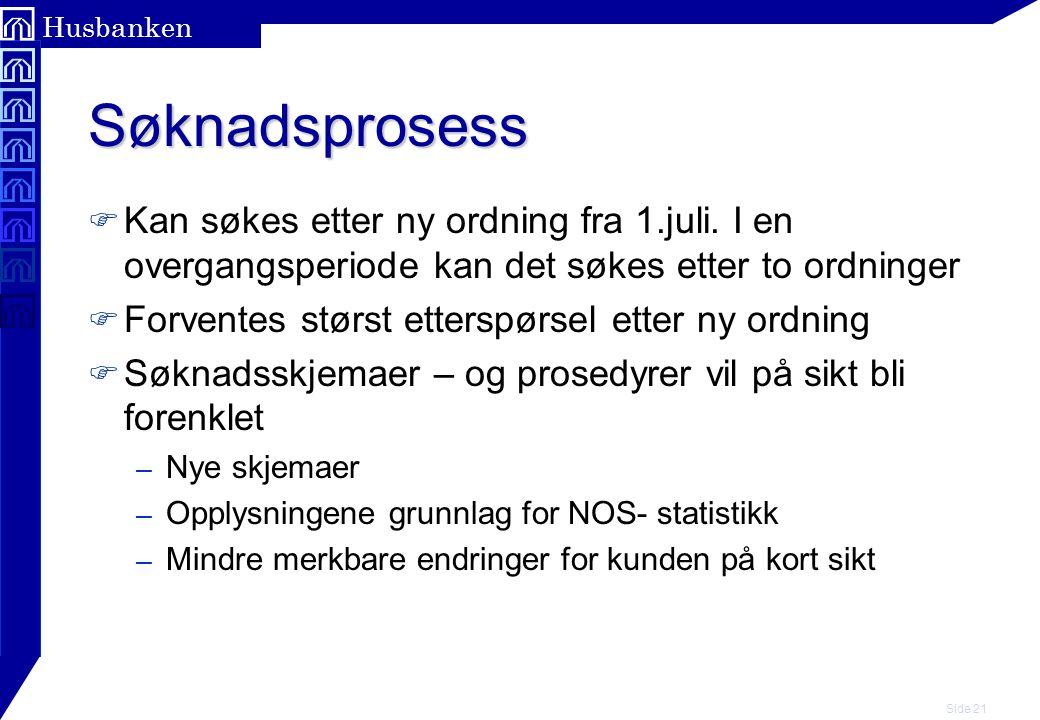 Side 21 Husbanken Søknadsprosess F Kan søkes etter ny ordning fra 1.juli.