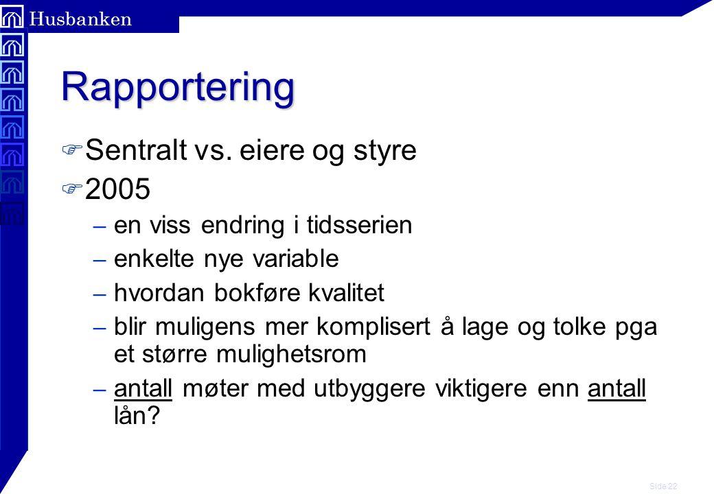 Side 22 Husbanken Rapportering F Sentralt vs.