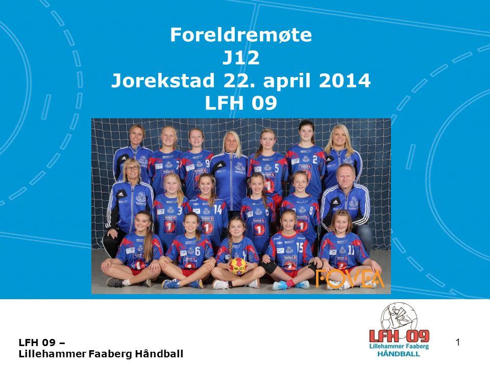 Foreldremøte J12 Jorekstad 22. april 2014 LFH 09 1 LFH 09 – Lillehammer Faaberg Håndball