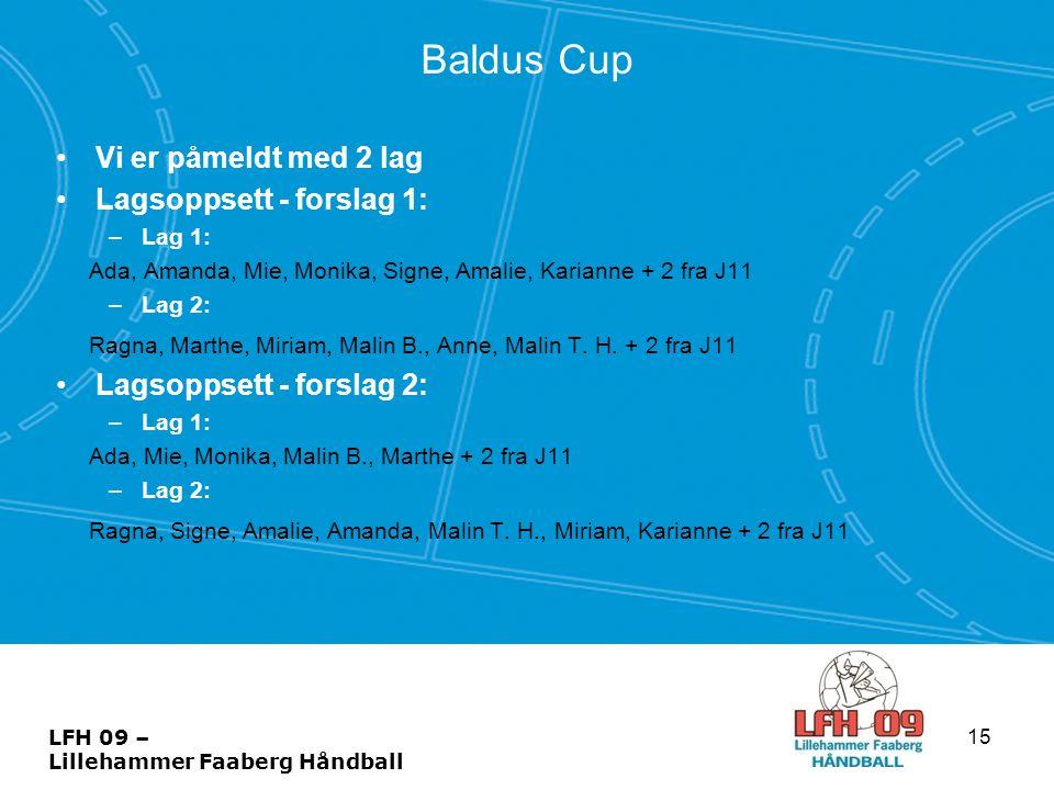 Baldus Cup •Vi er påmeldt med 2 lag •Lagsoppsett - forslag 1: –Lag 1: Ada, Amanda, Mie, Monika, Signe, Amalie, Karianne + 2 fra J11 –Lag 2: Ragna, Mar