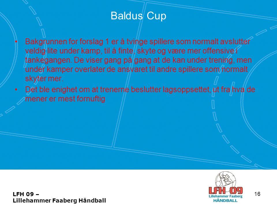 Baldus Cup •Bakgrunnen for forslag 1 er å tvinge spillere som normalt avslutter veldig lite under kamp, til å finte, skyte og være mer offensive i tan