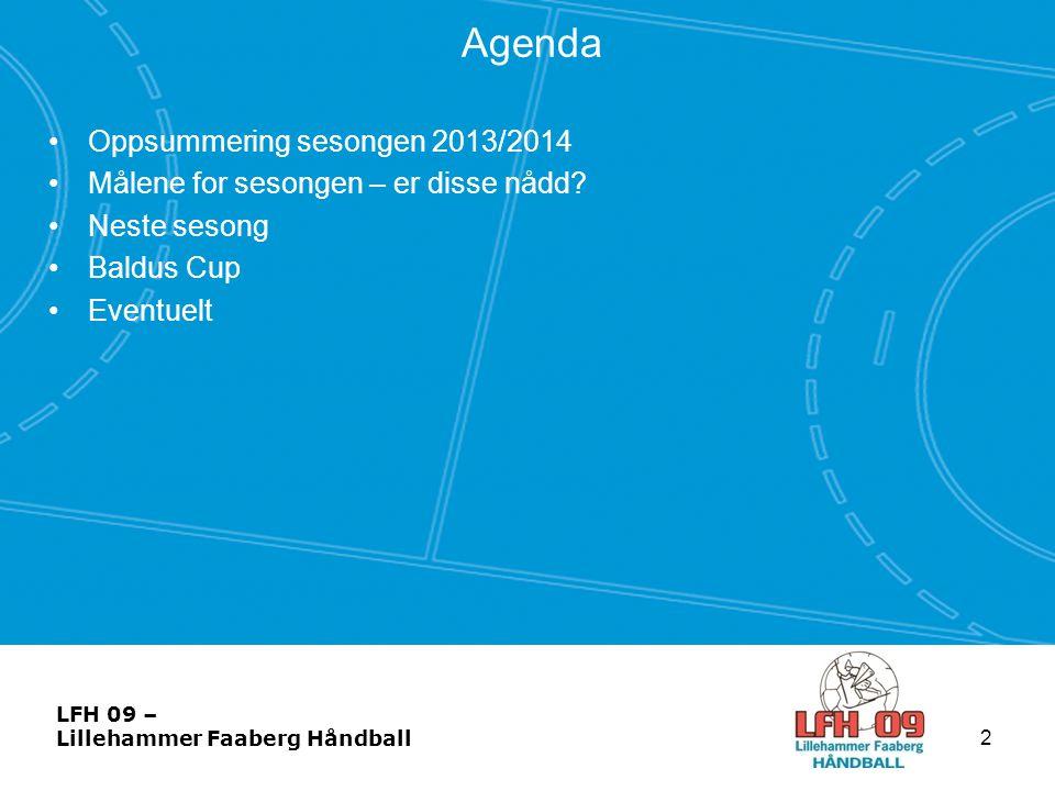Agenda •Oppsummering sesongen 2013/2014 •Målene for sesongen – er disse nådd? •Neste sesong •Baldus Cup •Eventuelt 2