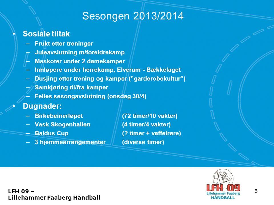 Sesongen 2013/2014 •Sosiale tiltak –Frukt etter treninger –Juleavslutning m/foreldrekamp –Maskoter under 2 damekamper –Innløpere under herrekamp, Elve