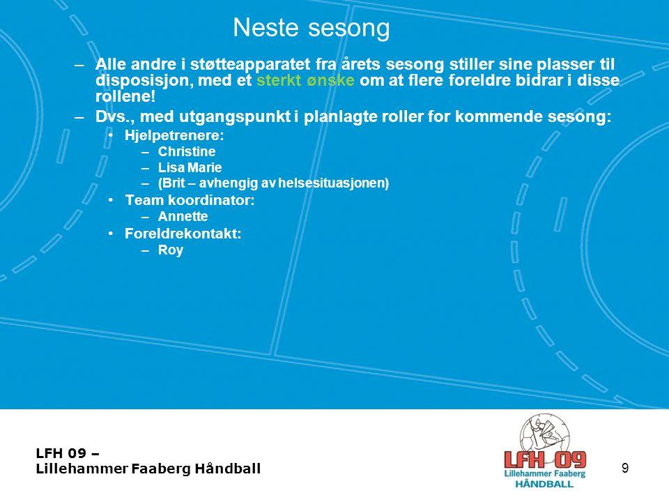 LFH 09 – Lillehammer Faaberg Håndball Neste sesong •Treningsmengde: –3 økter i uka •Oppstart: –Ikke avklart – mulig 1 trening i uka fra mai –Beach-treninger – avhengig av om vi blir nok spillere •Foreløpig har vi begrenset med informasjon om neste sesong.