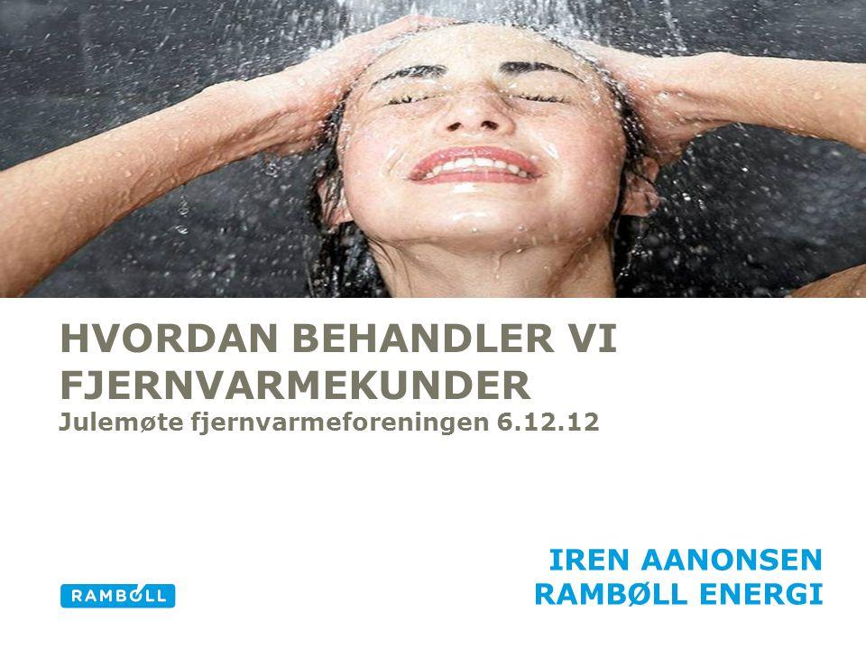 HVORDAN BEHANDLER VI FJERNVARMEKUNDER Julemøte fjernvarmeforeningen 6.12.12 IREN AANONSEN RAMBØLL ENERGI Alternative title slide