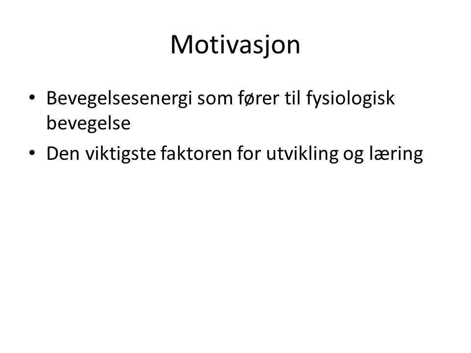 Motivasjon • Bevegelsesenergi som fører til fysiologisk bevegelse • Den viktigste faktoren for utvikling og læring