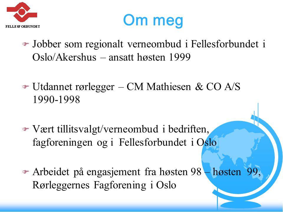 Om meg F Jobber som regionalt verneombud i Fellesforbundet i Oslo/Akershus – ansatt høsten 1999 F Utdannet rørlegger – CM Mathiesen & CO A/S 1990-1998