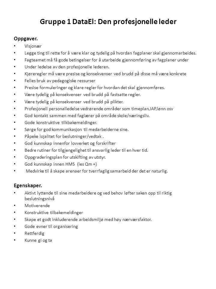 Gruppe 1 DataEl: Den profesjonelle leder Oppgaver. • Visjonær • Legge ting til rette for å være klar og tydelig på hvordan fagplaner skal gjennomarbei