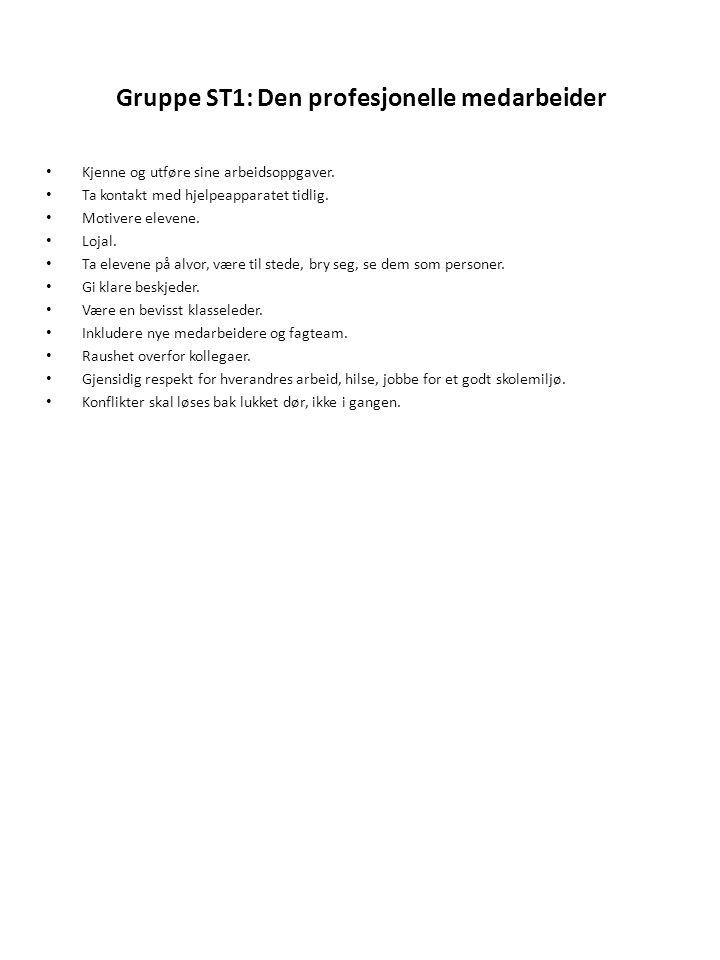 Gruppe ST1: Den profesjonelle medarbeider • Kjenne og utføre sine arbeidsoppgaver. • Ta kontakt med hjelpeapparatet tidlig. • Motivere elevene. • Loja