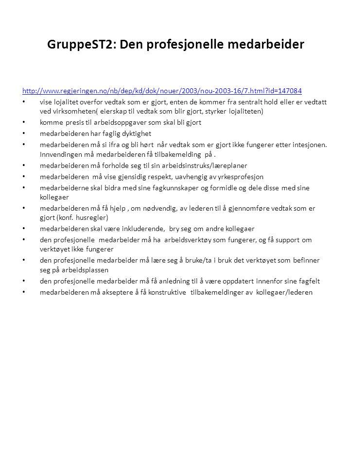 GruppeST2: Den profesjonelle medarbeider http://www.regjeringen.no/nb/dep/kd/dok/nouer/2003/nou-2003-16/7.html?id=147084 • vise lojalitet overfor vedt