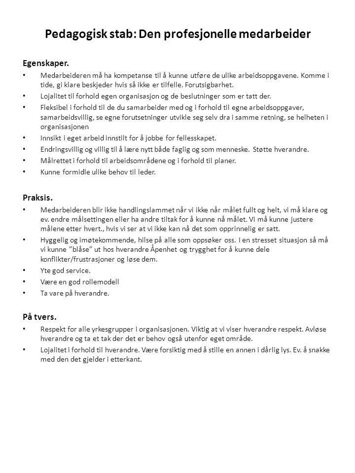 Pedagogisk stab: Den profesjonelle medarbeider Egenskaper. • Medarbeideren må ha kompetanse til å kunne utføre de ulike arbeidsoppgavene. Komme i tide