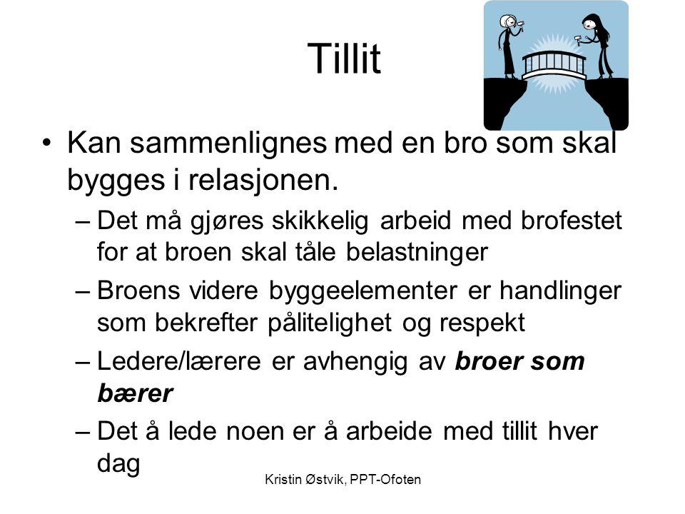Kristin Østvik, PPT-Ofoten Tillit •Kan sammenlignes med en bro som skal bygges i relasjonen. –Det må gjøres skikkelig arbeid med brofestet for at broe