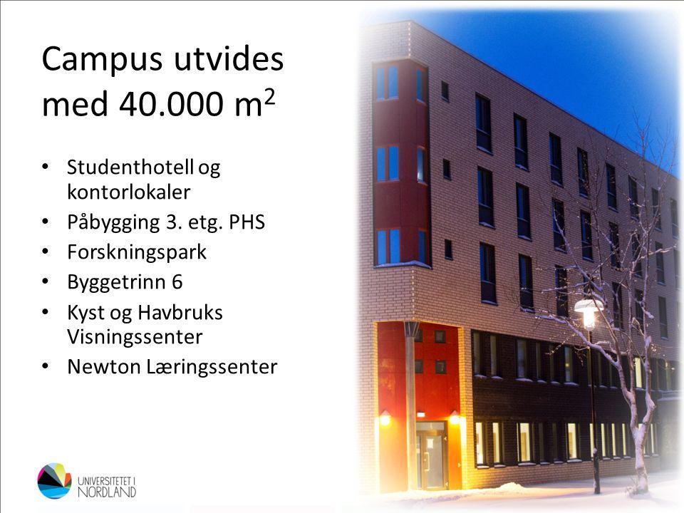 Campus utvides med 40.000 m 2 • Studenthotell og kontorlokaler • Påbygging 3. etg. PHS • Forskningspark • Byggetrinn 6 • Kyst og Havbruks Visningssent