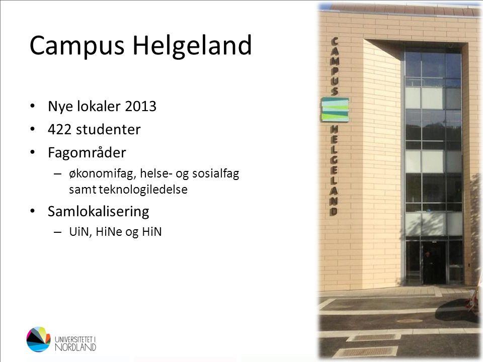 Campus Helgeland • Nye lokaler 2013 • 422 studenter • Fagområder – økonomifag, helse- og sosialfag samt teknologiledelse • Samlokalisering – UiN, HiNe