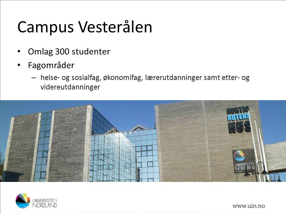 Campus Vesterålen • Omlag 300 studenter • Fagområder – helse- og sosialfag, økonomifag, lærerutdanninger samt etter- og videreutdanninger