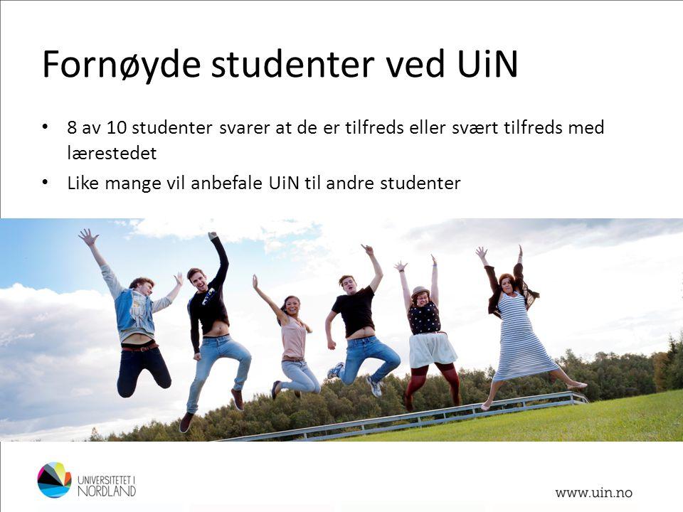 Fornøyde studenter ved UiN • 8 av 10 studenter svarer at de er tilfreds eller svært tilfreds med lærestedet • Like mange vil anbefale UiN til andre st