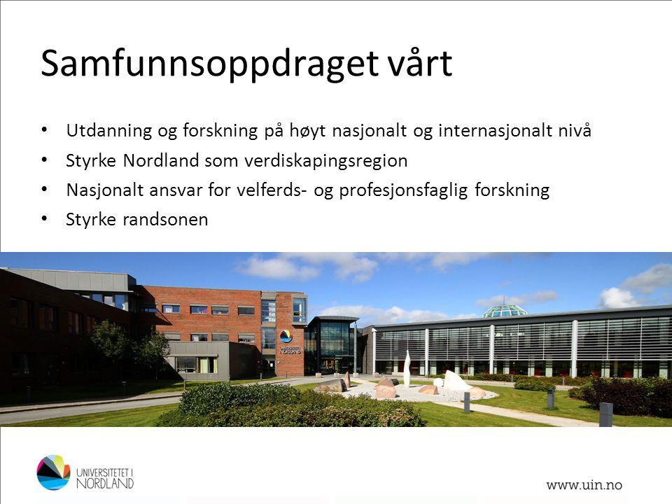 Samfunnsoppdraget vårt • Utdanning og forskning på høyt nasjonalt og internasjonalt nivå • Styrke Nordland som verdiskapingsregion • Nasjonalt ansvar