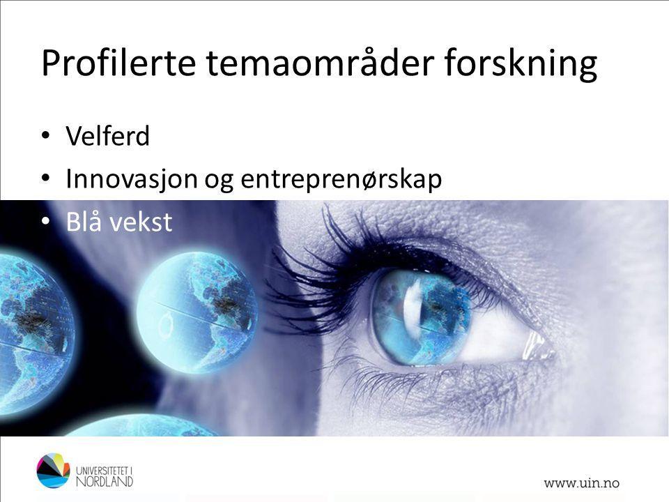 Profilerte temaområder forskning • Velferd • Innovasjon og entreprenørskap • Blå vekst