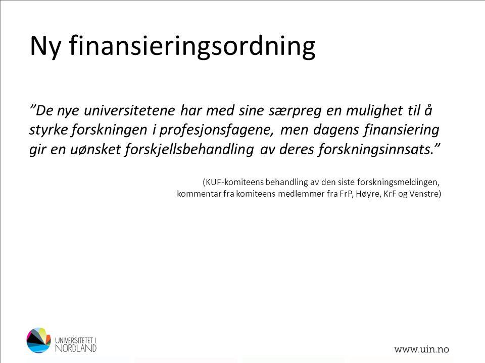 Ny finansieringsordning (KUF-komiteens behandling av den siste forskningsmeldingen, kommentar fra komiteens medlemmer fra FrP, Høyre, KrF og Venstre)