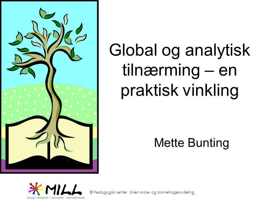 © Pedagogisk senter, Skien skole- og barnehageavdeling Global og analytisk tilnærming – en praktisk vinkling Mette Bunting