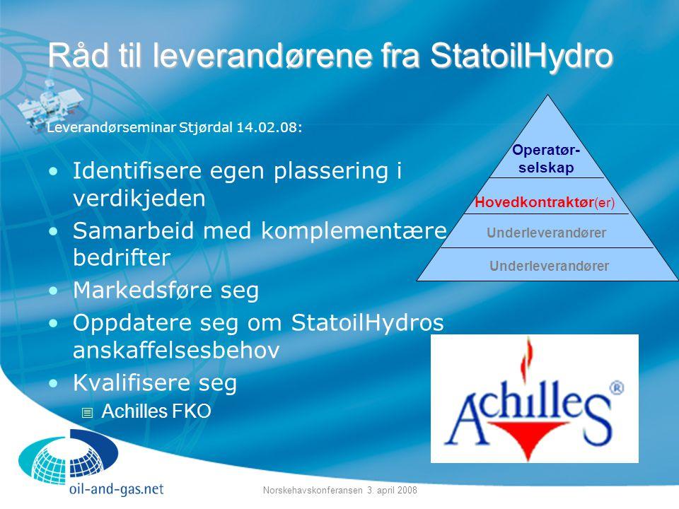 Norskehavskonferansen 3. april 2008 Leverandørseminar Stjørdal 14.02.08: •Identifisere egen plassering i verdikjeden •Samarbeid med komplementære bedr
