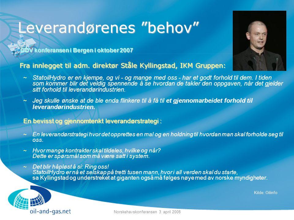 """Norskehavskonferansen 3. april 2008 Leverandørenes """"behov"""" Fra innlegget til adm. direktør Ståle Kyllingstad, IKM Gruppen: ~StatoilHydro er en kjempe,"""