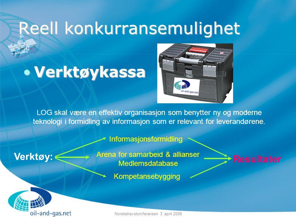 Norskehavskonferansen 3. april 2008 Reell konkurransemulighet •Verktøykassa Informasjonsformidling Arena for samarbeid & allianser Medlemsdatabase Kom