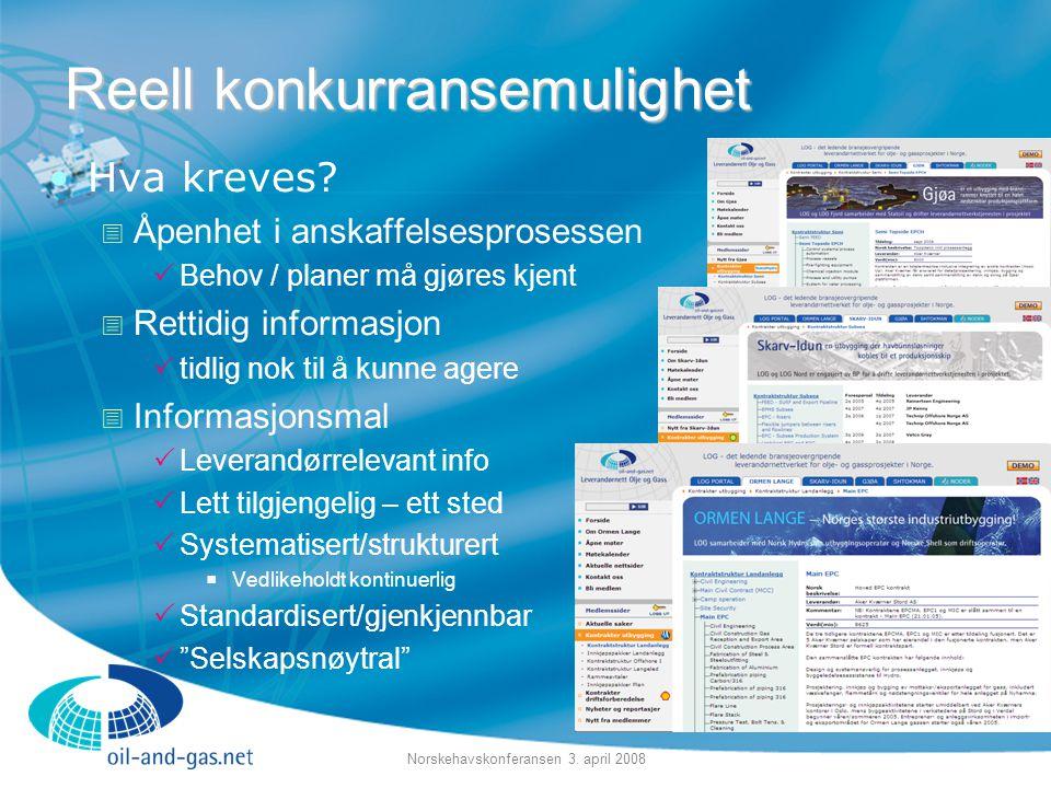 Norskehavskonferansen 3. april 2008 •Hva kreves?  Åpenhet i anskaffelsesprosessen  Behov / planer må gjøres kjent  Rettidig informasjon  tidlig no