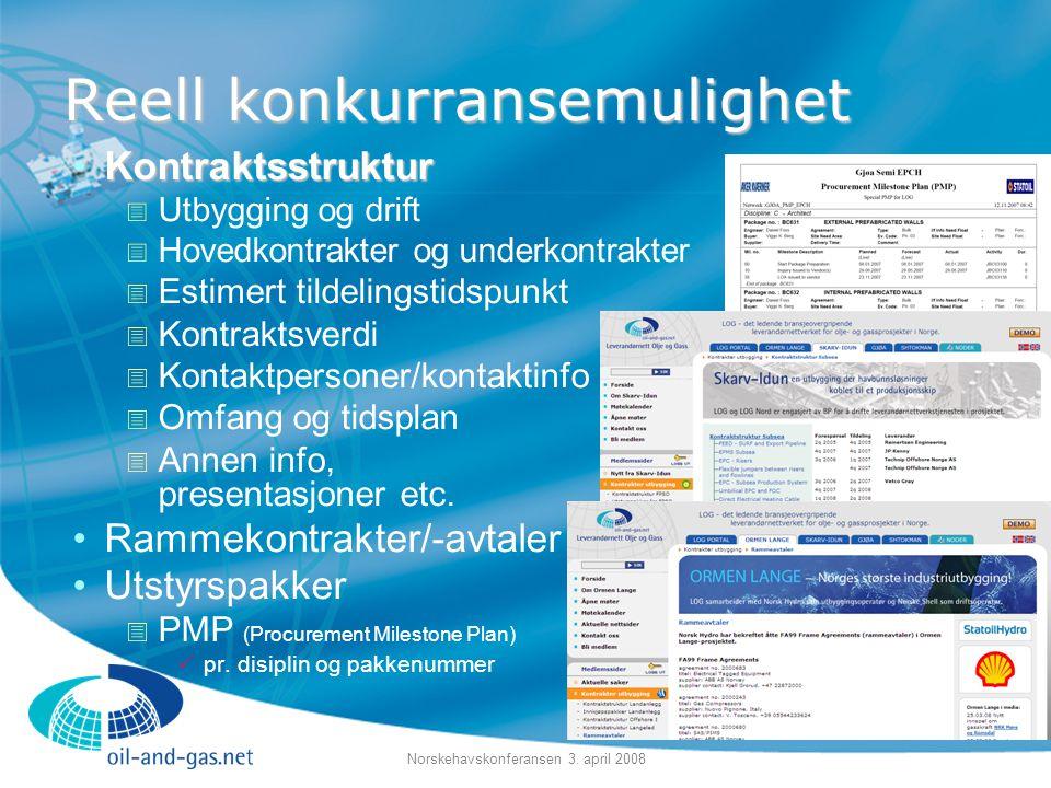 Norskehavskonferansen 3. april 2008 Reell konkurransemulighet •Kontraktsstruktur  Utbygging og drift  Hovedkontrakter og underkontrakter  Estimert