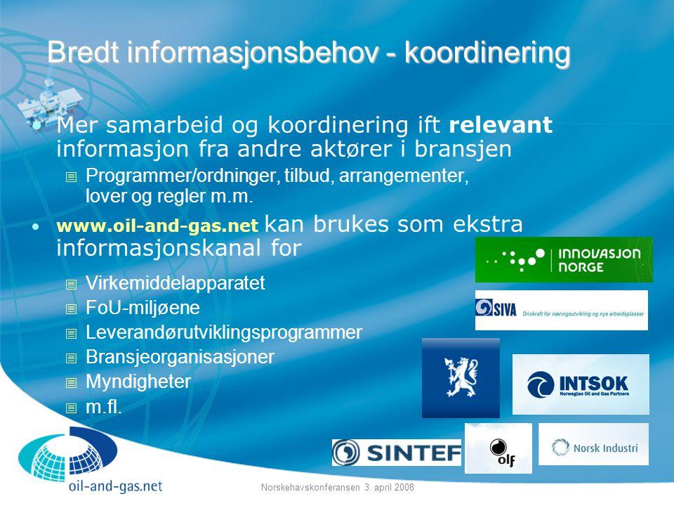 Norskehavskonferansen 3. april 2008 •Mer samarbeid og koordinering ift relevant informasjon fra andre aktører i bransjen  Programmer/ordninger, tilbu