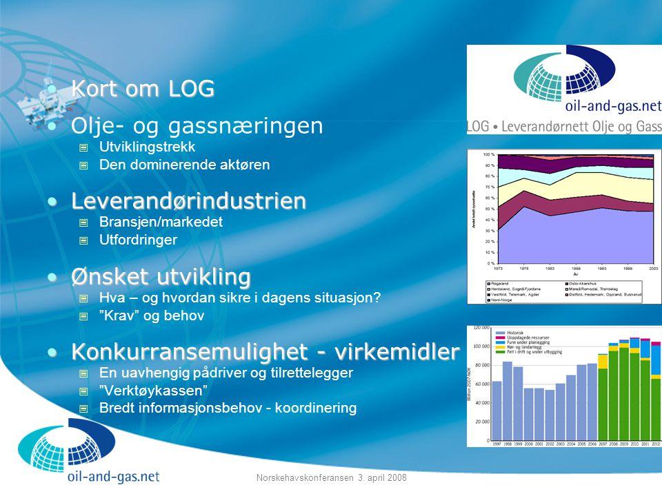 Norskehavskonferansen 3. april 2008 •Kort om LOG •Olje- og gassnæringen  Utviklingstrekk  Den dominerende aktøren •Leverandørindustrien  Bransjen/m