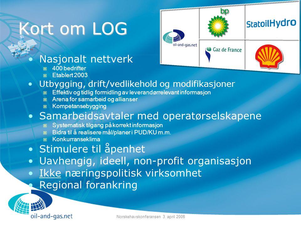 Norskehavskonferansen 3. april 2008 Kort om LOG •Nasjonalt nettverk  400 bedrifter  Etablert 2003 •Utbygging, drift/vedlikehold og modifikasjoner 