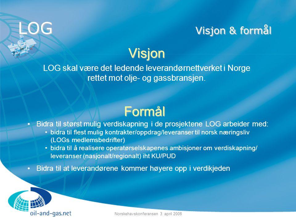 Norskehavskonferansen 3. april 2008 LOG Visjon & formål Visjon LOG skal være det ledende leverandørnettverket i Norge rettet mot olje- og gassbransjen