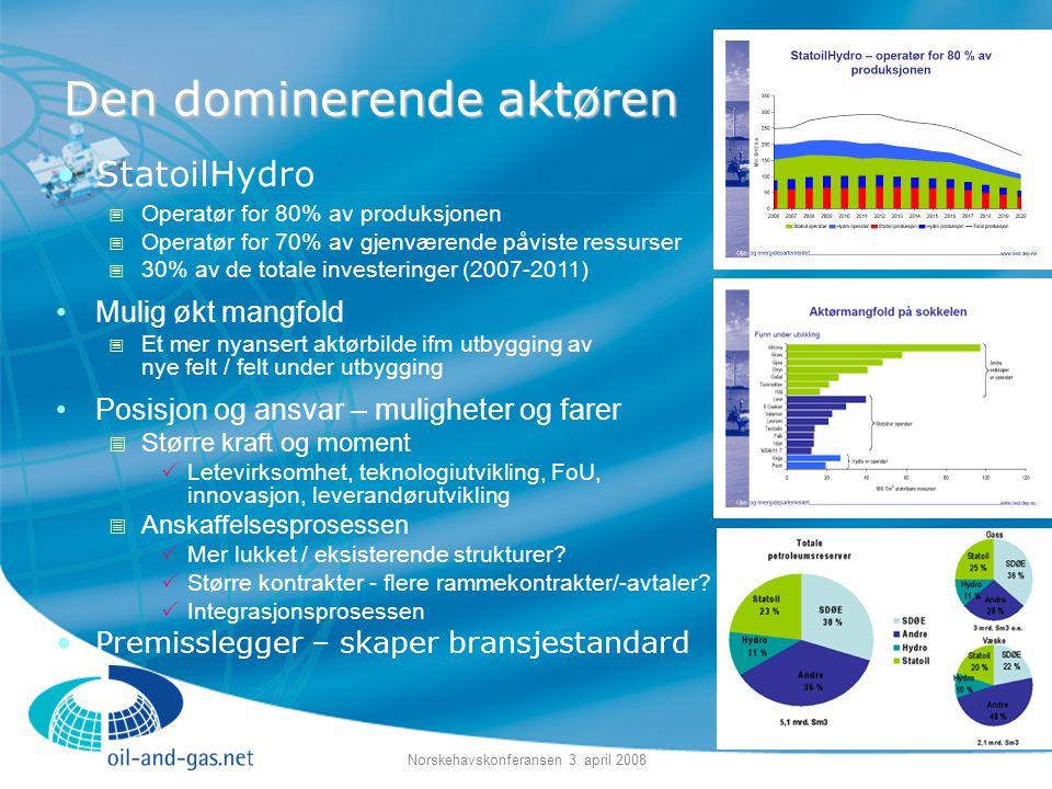 Norskehavskonferansen 3. april 2008 Den dominerende aktøren •StatoilHydro  Operatør for 80% av produksjonen  Operatør for 70% av gjenværende påviste