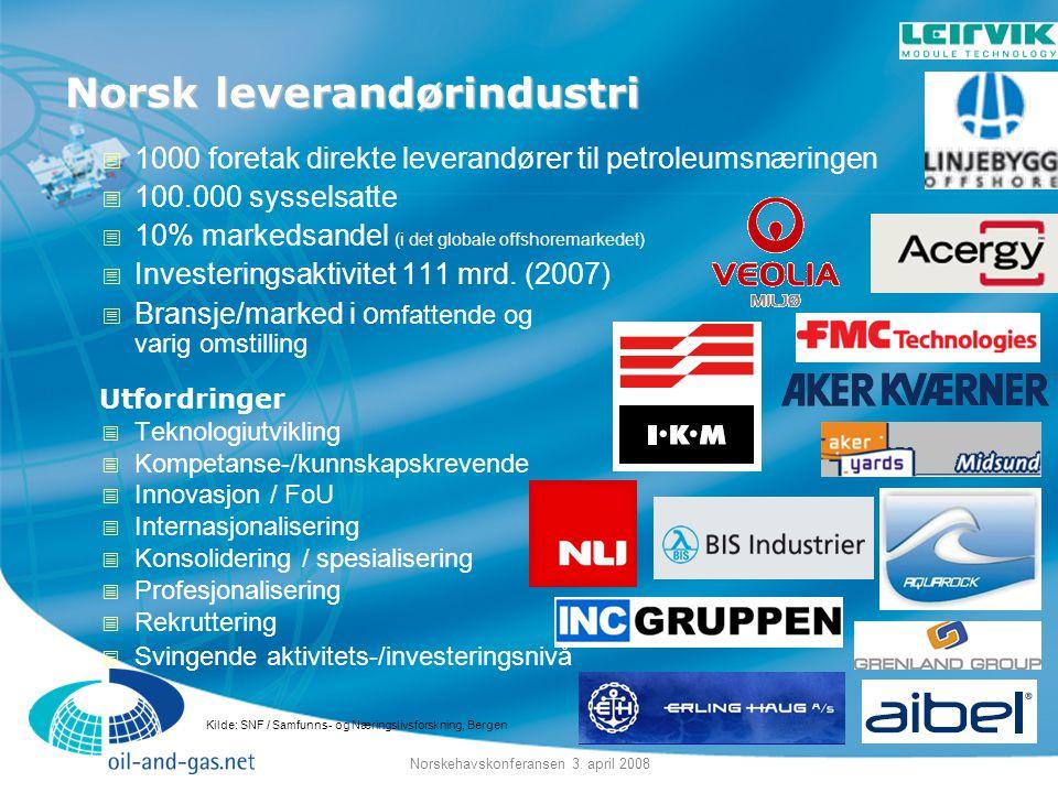 Norskehavskonferansen 3. april 2008 Norsk leverandørindustri  1000 foretak direkte leverandører til petroleumsnæringen  100.000 sysselsatte  10% ma