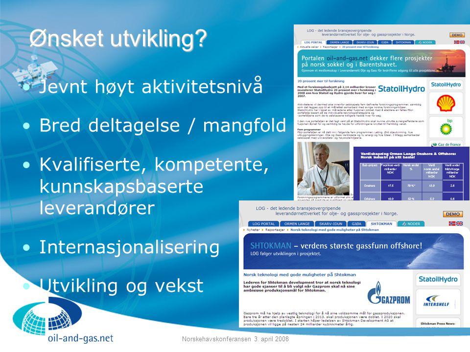 Norskehavskonferansen 3. april 2008 •Jevnt høyt aktivitetsnivå •Bred deltagelse / mangfold •Kvalifiserte, kompetente, kunnskapsbaserte leverandører •I