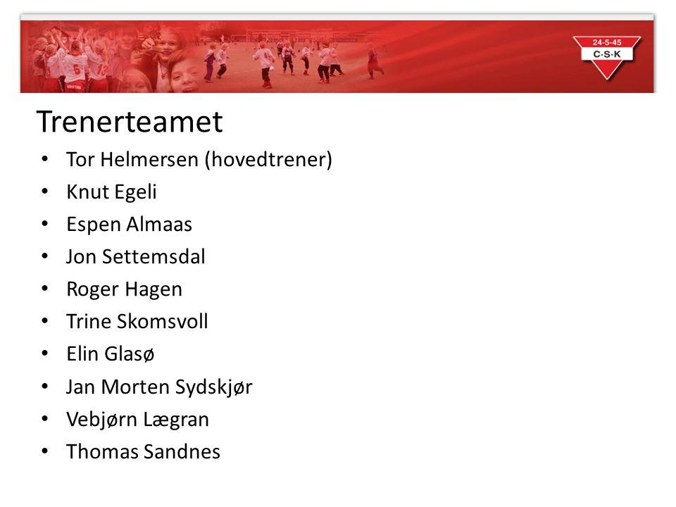 Trenerteamet • Tor Helmersen (hovedtrener) • Knut Egeli • Espen Almaas • Jon Settemsdal • Roger Hagen • Trine Skomsvoll • Elin Glasø • Jan Morten Syds