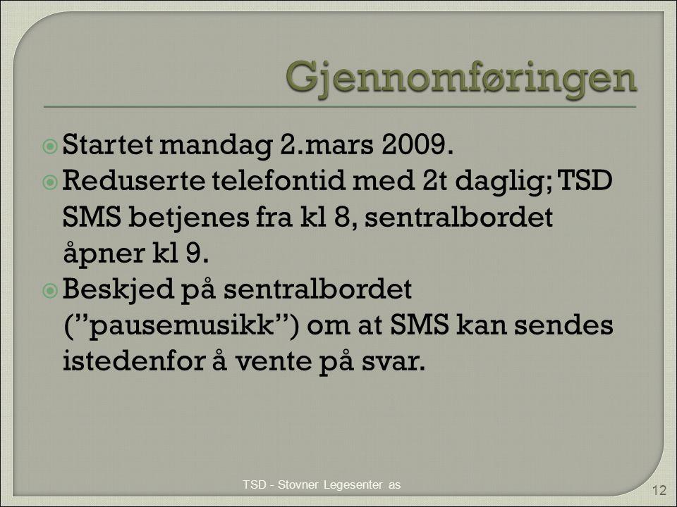 """ Startet mandag 2.mars 2009.  Reduserte telefontid med 2t daglig; TSD SMS betjenes fra kl 8, sentralbordet åpner kl 9.  Beskjed på sentralbordet ("""""""