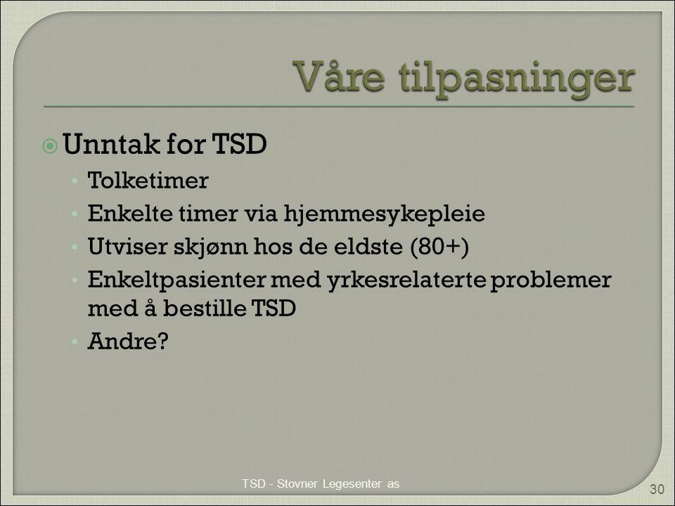  Unntak for TSD • Tolketimer • Enkelte timer via hjemmesykepleie • Utviser skjønn hos de eldste (80+) • Enkeltpasienter med yrkesrelaterte problemer