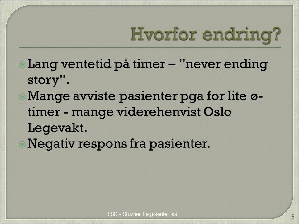 """ Lang ventetid på timer – """"never ending story"""".  Mange avviste pasienter pga for lite ø- timer - mange viderehenvist Oslo Legevakt.  Negativ respon"""