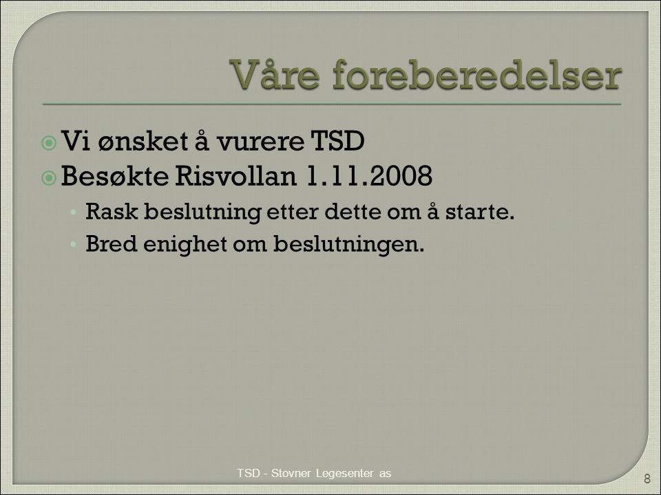  Vi ønsket å vurere TSD  Besøkte Risvollan 1.11.2008 • Rask beslutning etter dette om å starte. • Bred enighet om beslutningen. TSD - Stovner Legese
