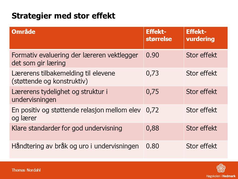 Strategier med stor effekt OmrådeEffekt- størrelse Effekt- vurdering Formativ evaluering der læreren vektlegger det som gir læring 0.90Stor effekt Lærerens tilbakemelding til elevene (støttende og konstruktiv) 0,73Stor effekt Lærerens tydelighet og struktur i undervisningen 0,75Stor effekt En positiv og støttende relasjon mellom elev og lærer 0,72Stor effekt Klare standarder for god undervisning0,88Stor effekt Håndtering av bråk og uro i undervisningen0.80Stor effekt Thomas Nordahl