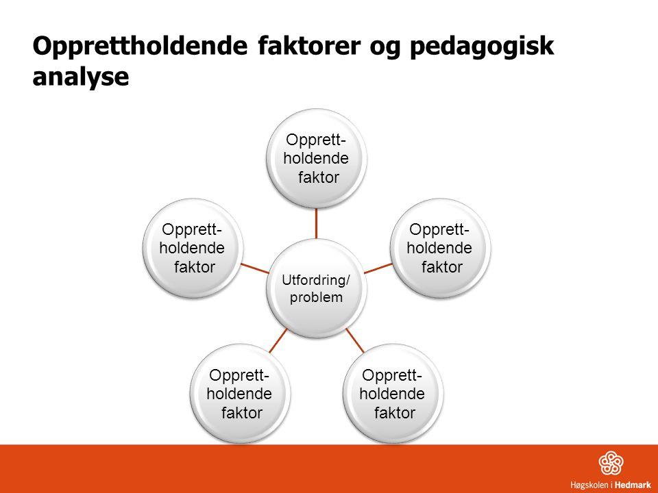 Opprettholdende faktorer og pedagogisk analyse Utfordring/ problem Opprett- holdende faktor Opprett- holdende faktor Opprett- holdende faktor Opprett- holdende faktor Opprett- holdende faktor