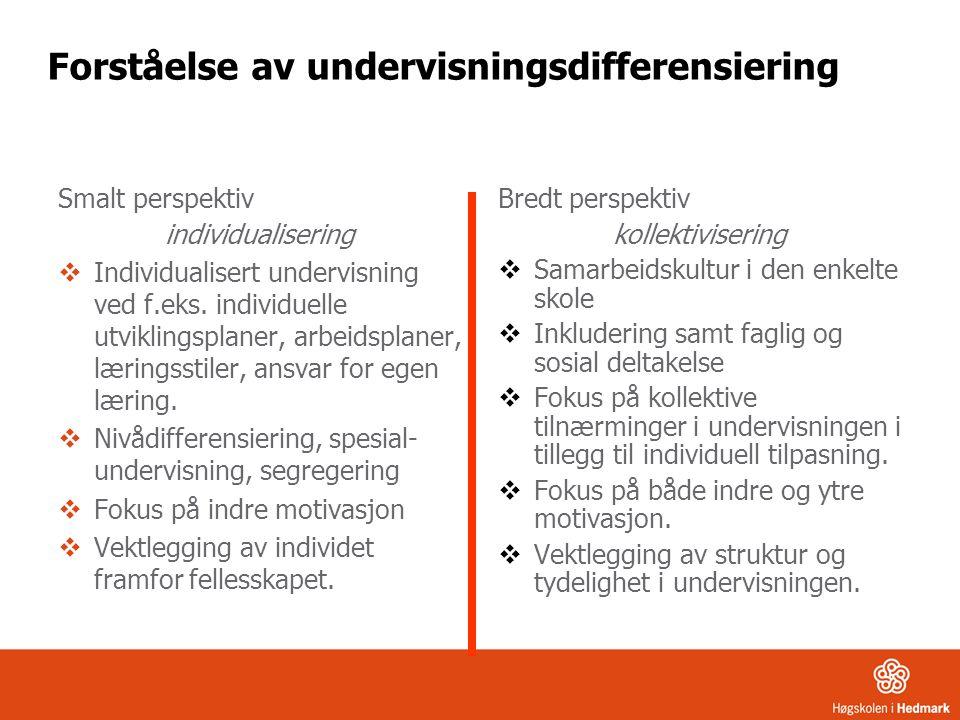 Forståelse av undervisningsdifferensiering Smalt perspektiv individualisering  Individualisert undervisning ved f.eks.