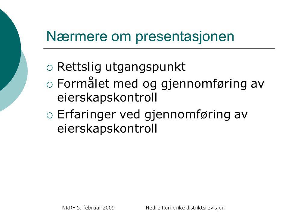 NKRF 5.februar 2009 Nedre Romerike distriktsrevisjon Problemområder  Hvem representerer eier.