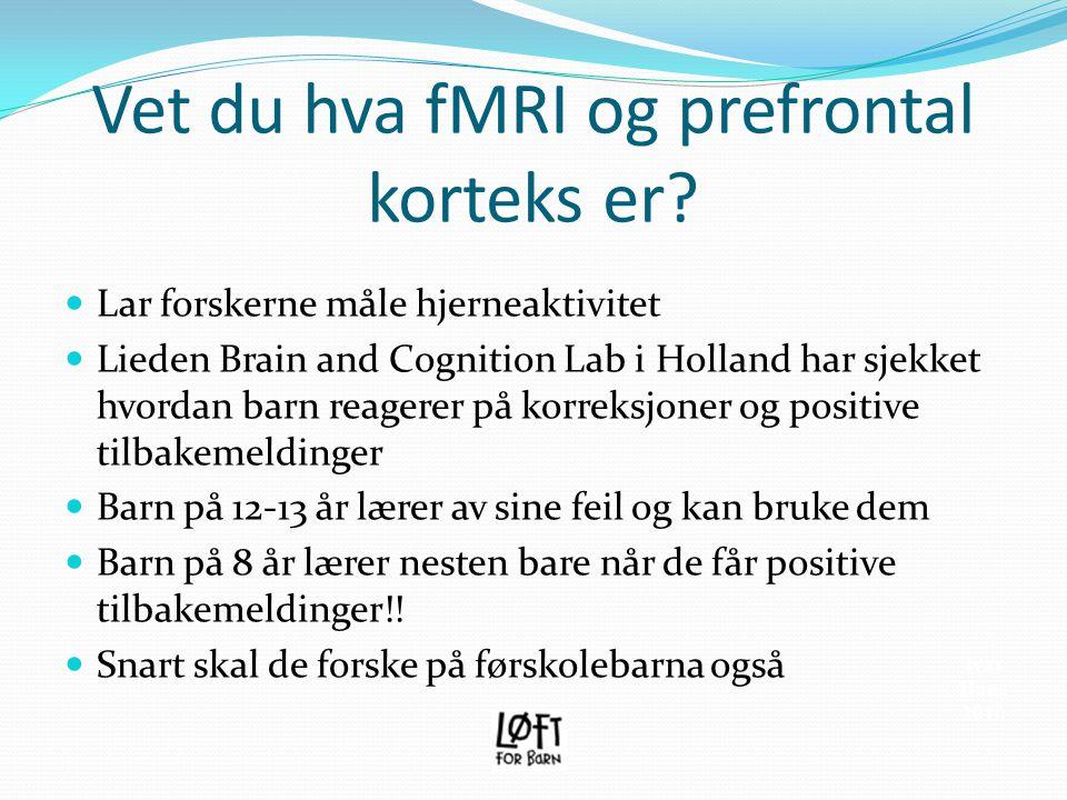 Vet du hva fMRI og prefrontal korteks er?  Lar forskerne måle hjerneaktivitet  Lieden Brain and Cognition Lab i Holland har sjekket hvordan barn rea