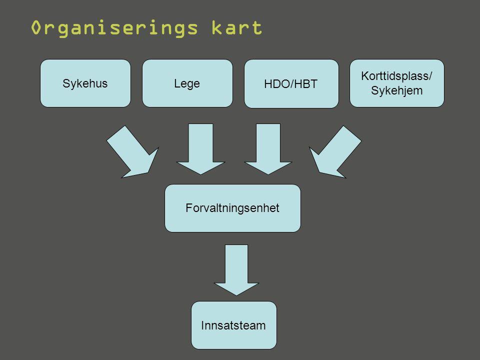 Forvaltningsenhet Lege Korttidsplass/ Sykehjem Sykehus Innsatsteam HDO/HBT Organiserings kart