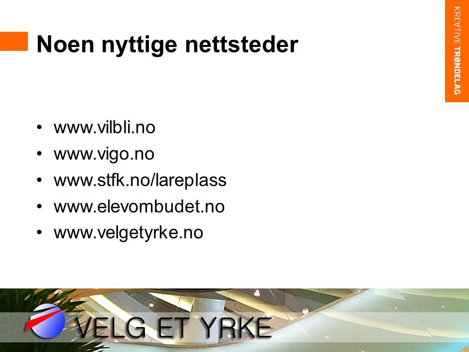 Noen nyttige nettsteder •www.vilbli.no •www.vigo.no •www.stfk.no/lareplass •www.elevombudet.no •www.velgetyrke.no