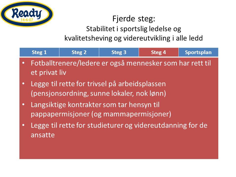 Fjerde steg: Stabilitet i sportslig ledelse og kvalitetsheving og videreutvikling i alle ledd • Fotballtrenere/ledere er også mennesker som har rett t
