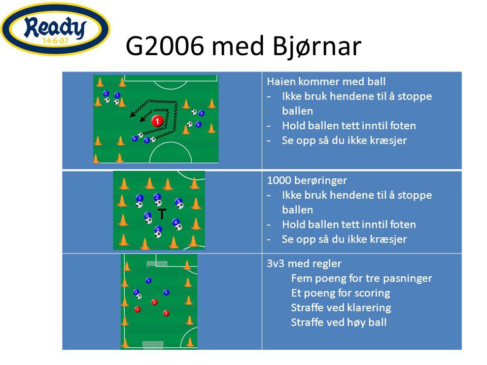 G2006 med Bjørnar Haien kommer med ball -Ikke bruk hendene til å stoppe ballen -Hold ballen tett inntil foten -Se opp så du ikke kræsjer 1000 berøring